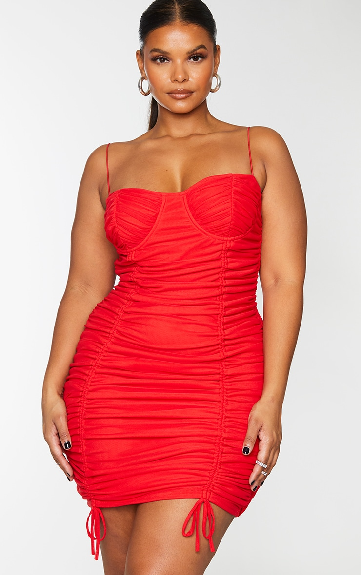Plus Red Mesh Cup Detail Ruched Spaghetti Strap Bodycon Dress 3
