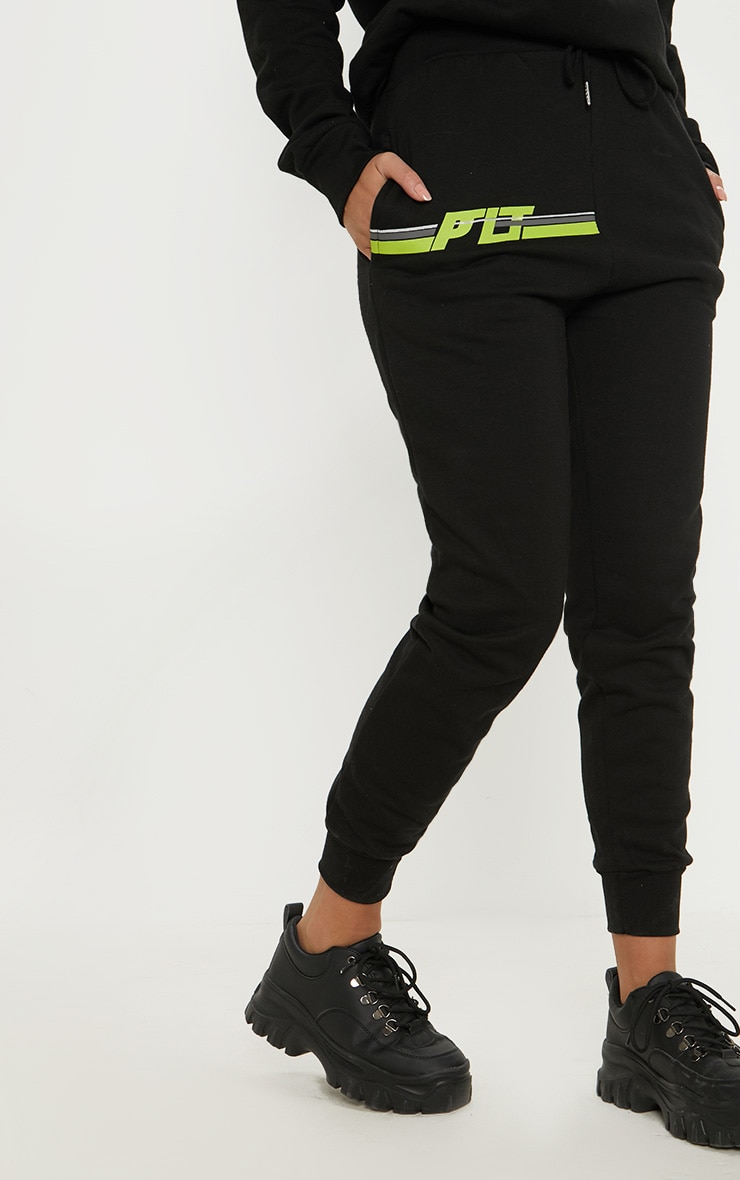 PRETTYLITTLETHING Black Printed Multi Stripe Jogger 2