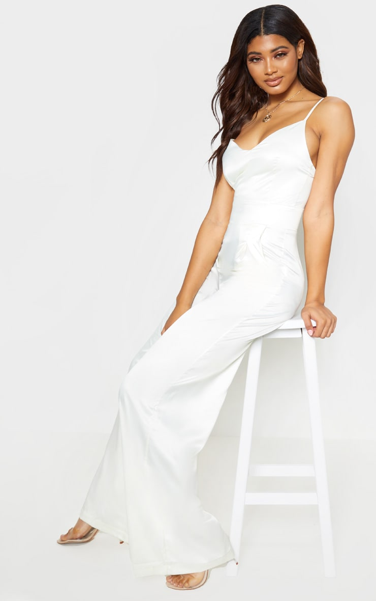 Tall Cream Satin Strappy Jumpsuit 4