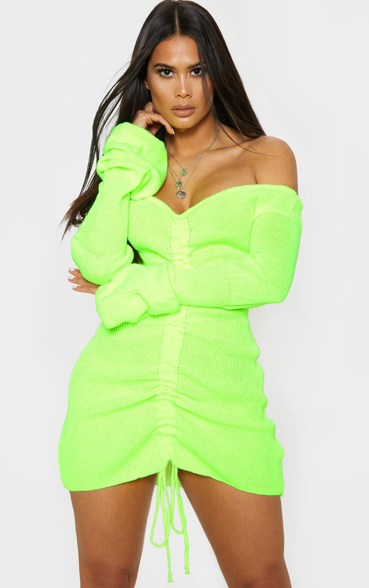 Neon Yellow Ruched Knitted Dress 1