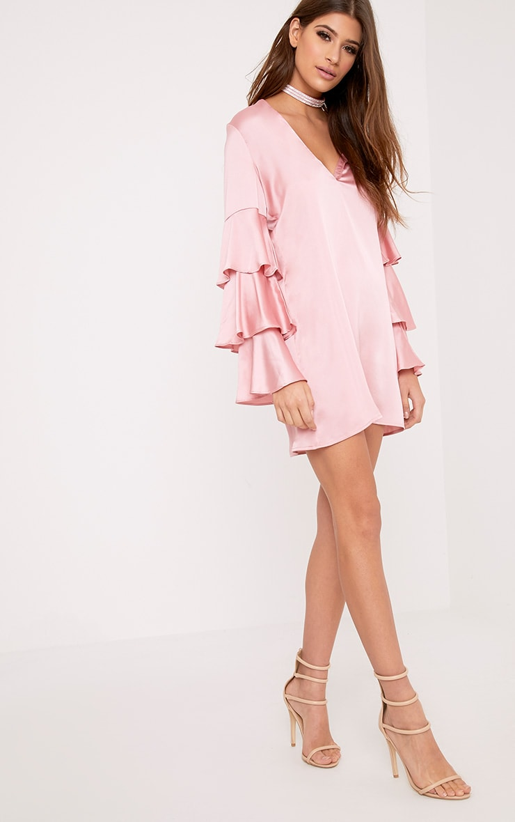 Kyleah Pink Satin Ruffle Sleeve Shift Dress 1