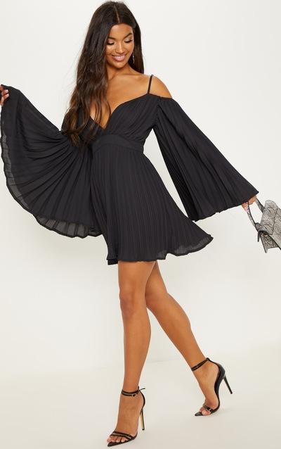 a510a7344c2 Black Pleated Flared Sleeve Skater Dress