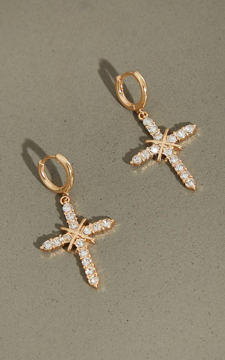 Gold Small Diamante Cross Hoop Earrings 3