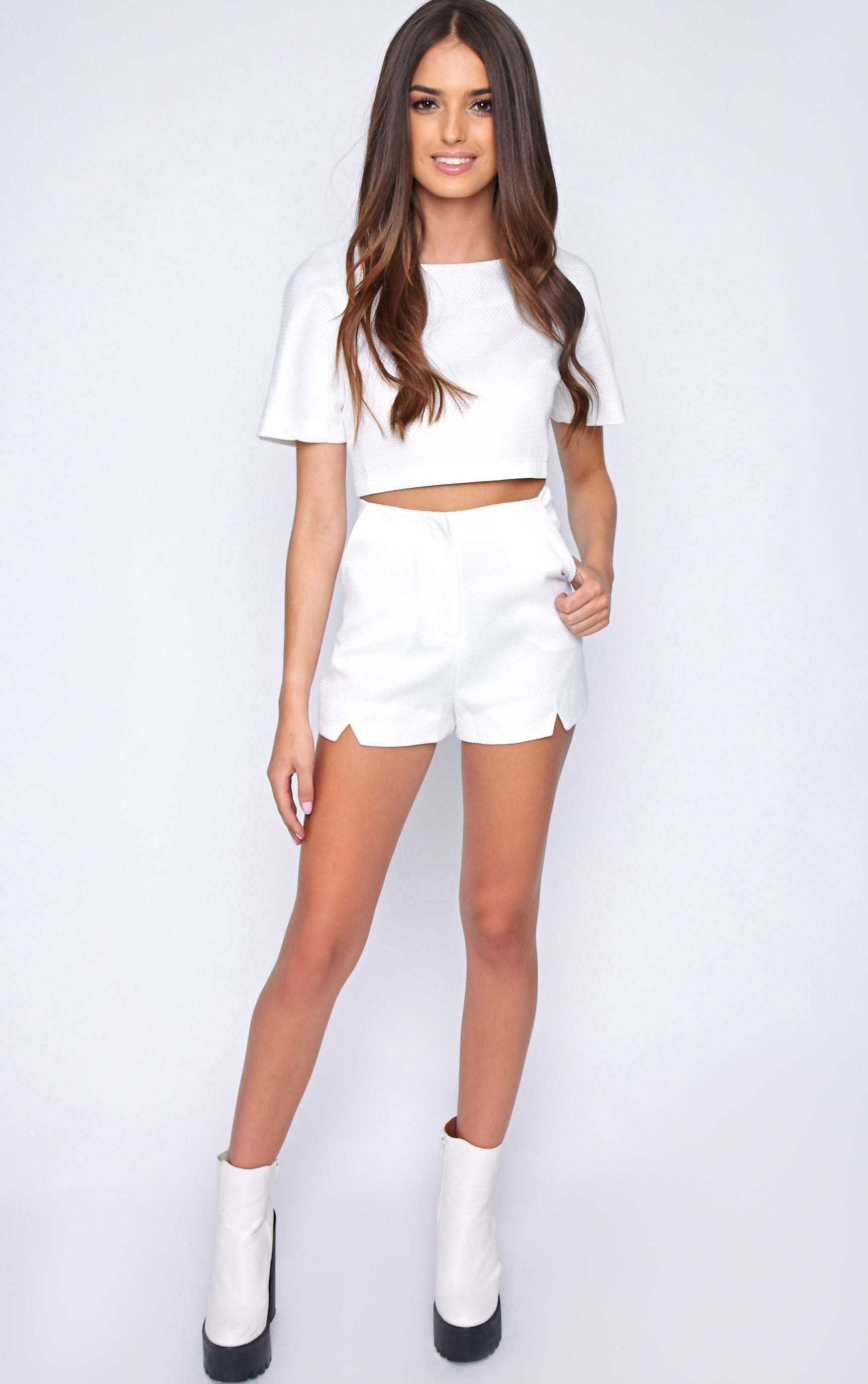 Talia White Textured Short -10 1
