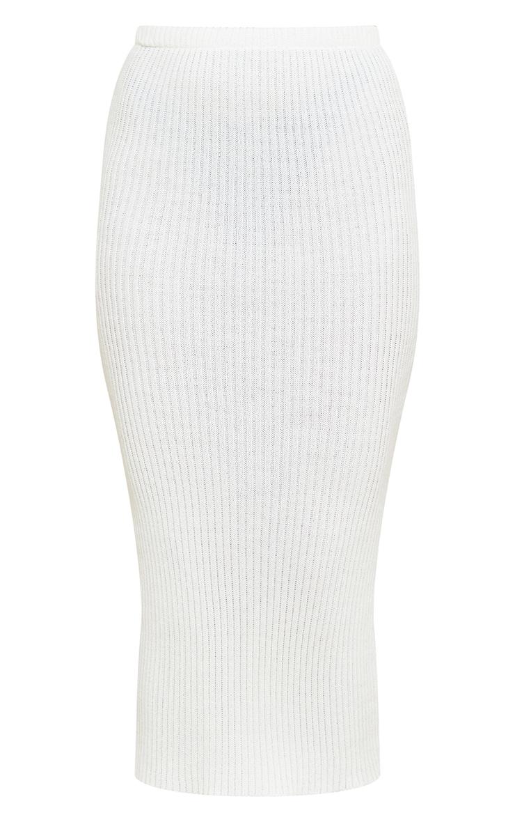 Tall White Knitted Midi Skirt 5