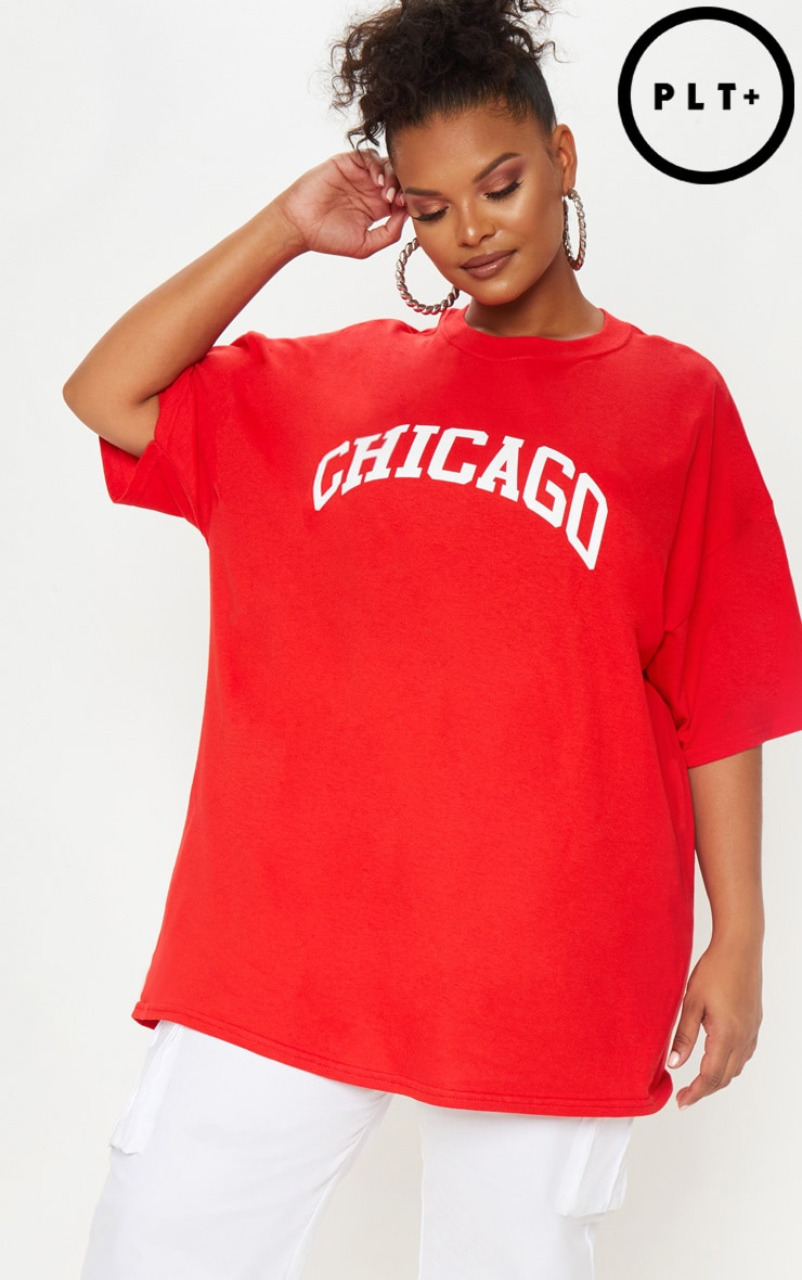 Plus Red Chicago Slogan T Shirt Plus Size Prettylittlething Usa