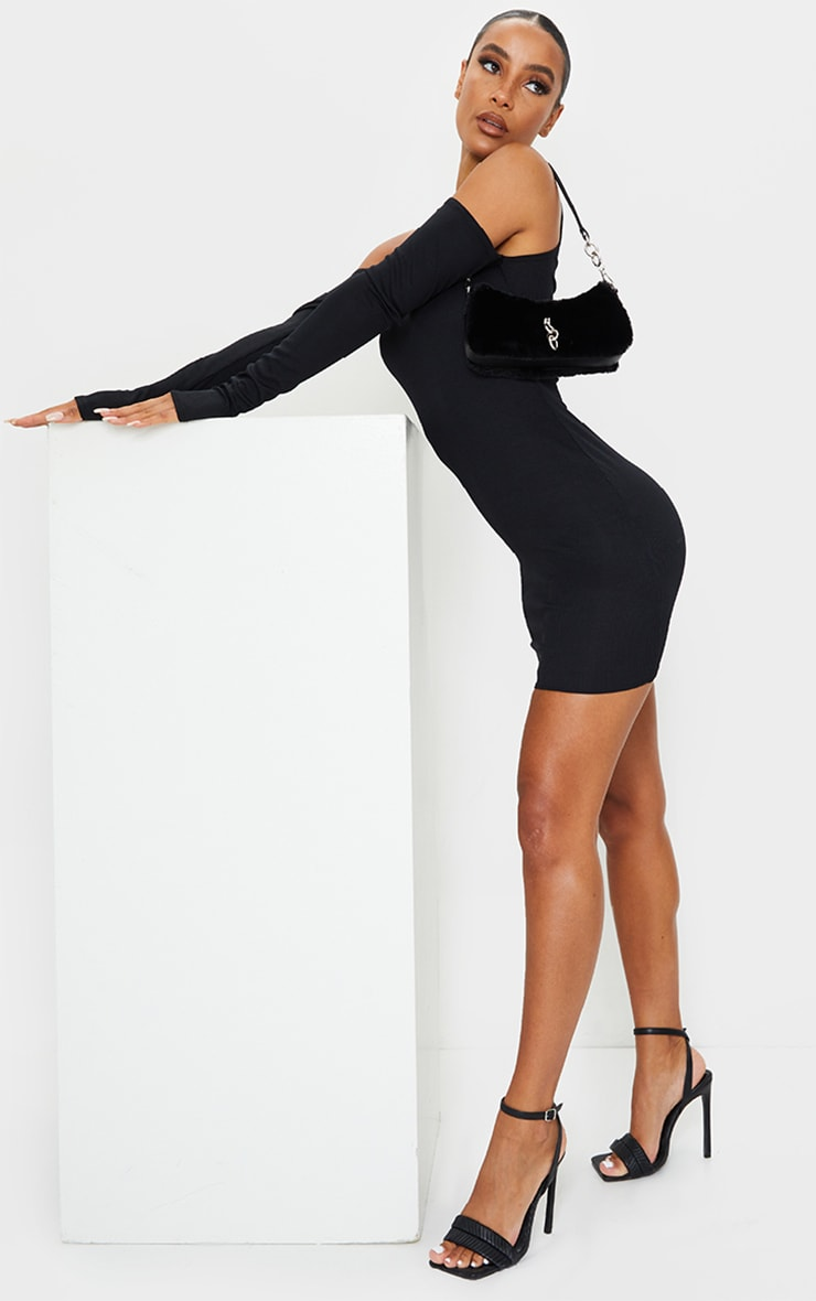 Black Cold Shoulder Ribbed Bodycon Dress 3