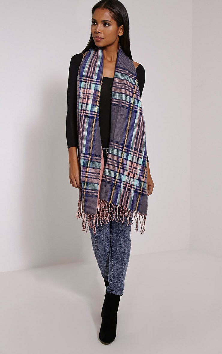 Carah Pink Check Oversized Scarf 3