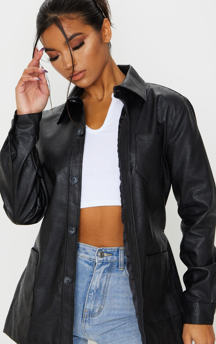 Black PU Oversized Belted Jacket 4