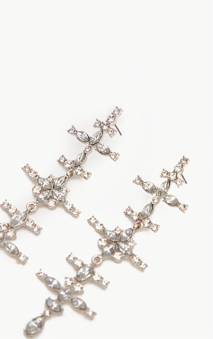 Silver Oversized Diamante Cross Earrings 3