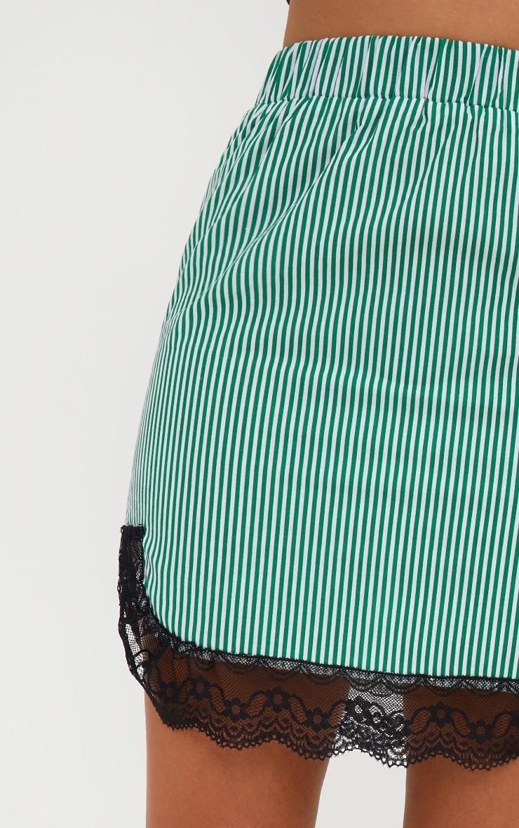 Green Pinstripe Lace Trim Mini Skirt 2