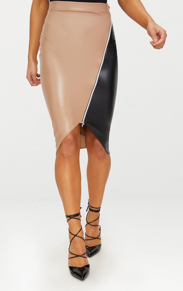 Stone Faux Leather Asymmetric Zip Midi Skirt 2