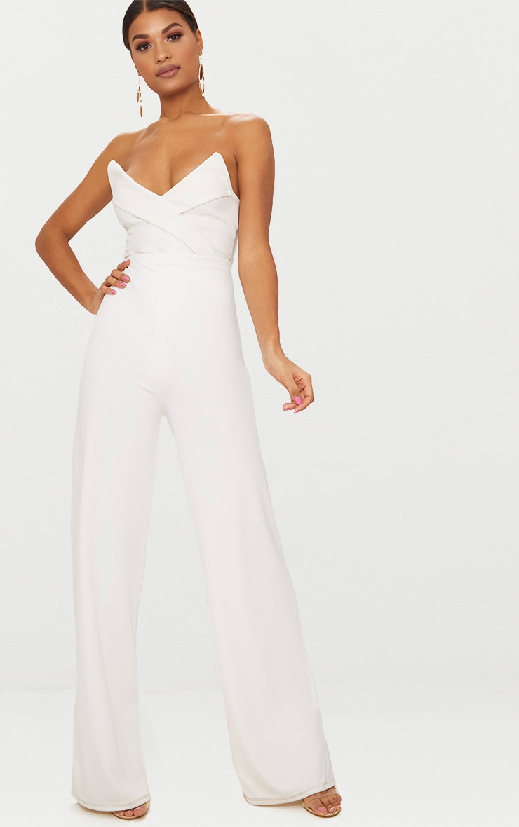 White Tux Detail Bandeau Thong Bodysuit  5