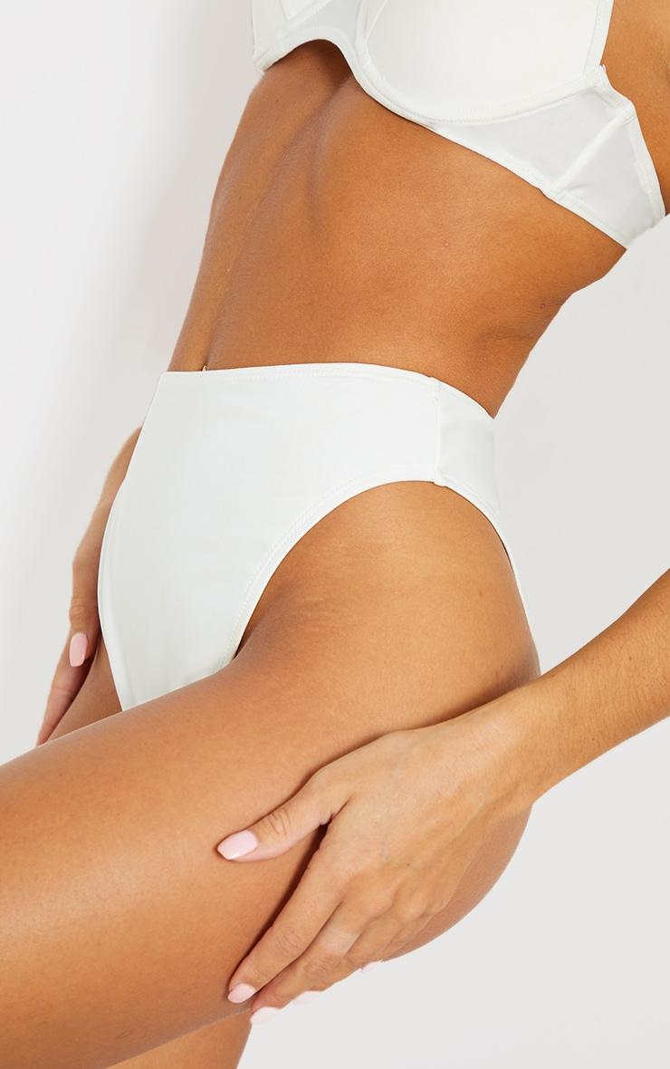 White Mix & Match Recycled Fabric High Waisted High Leg Bikini Bottom 5
