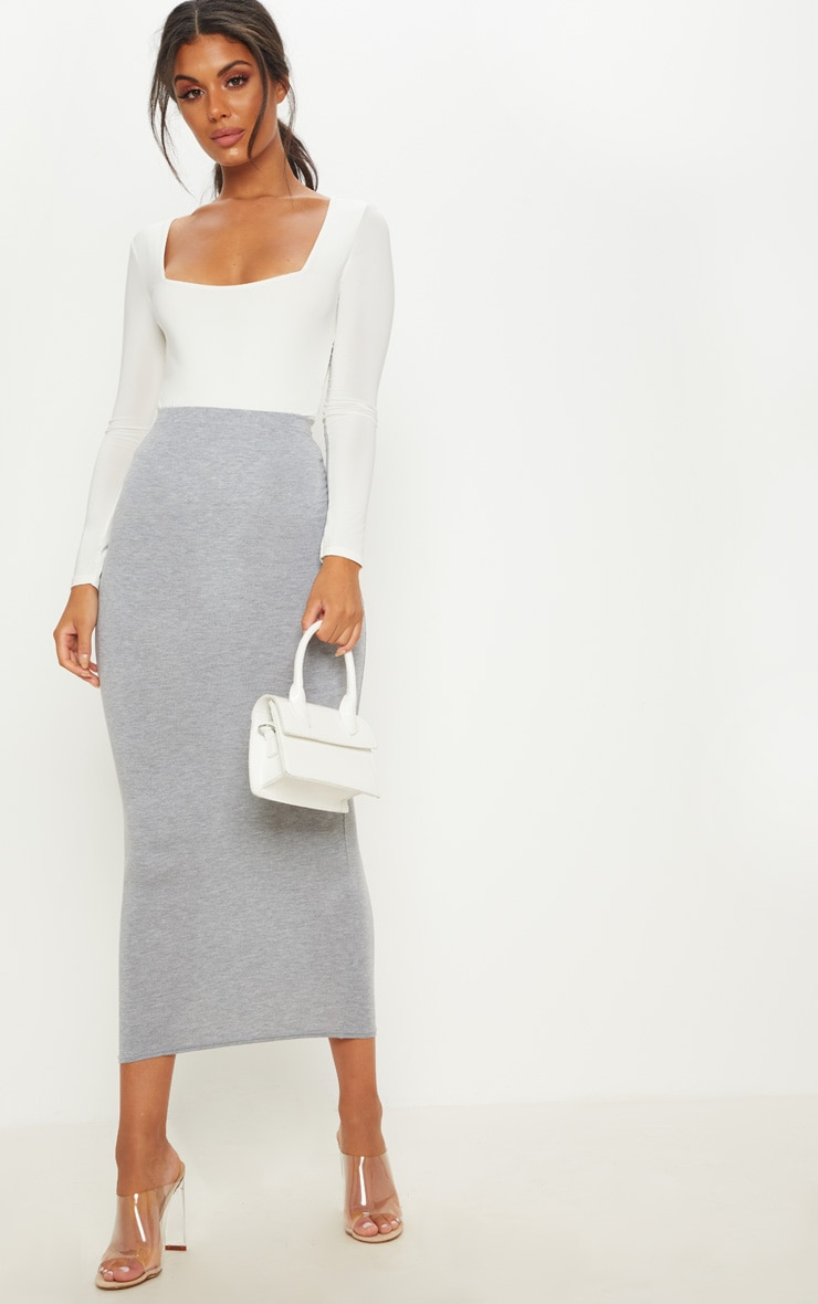 Basic Grey Midaxi Skirt 1