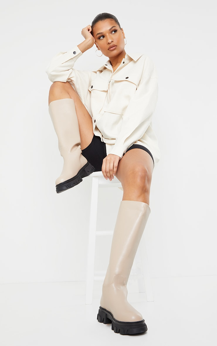 Beige Extreme Cleated Sole Calf High Wellie Boots image 1