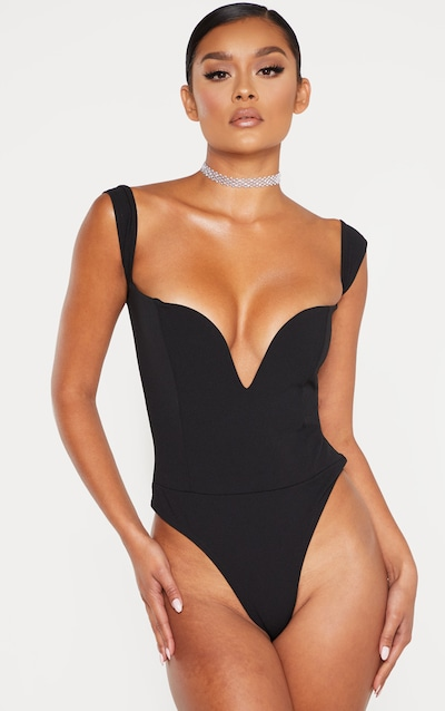 Black V Bar Bardot Bodysuit