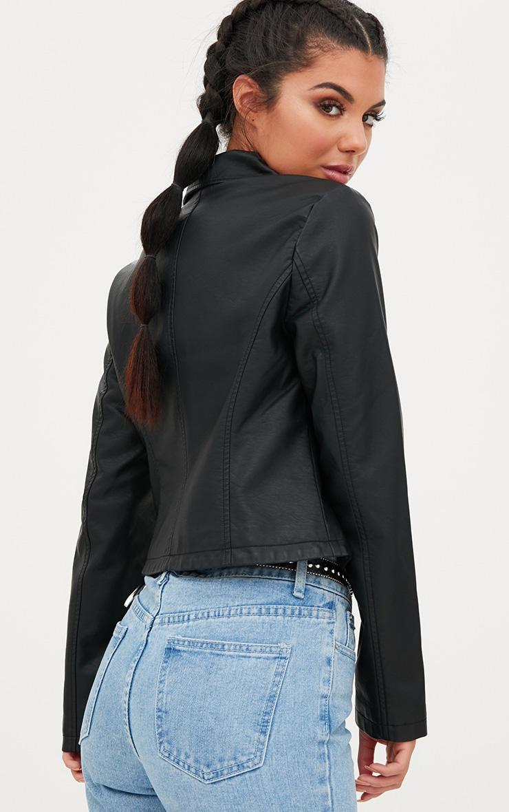 Black PU Biker Jacket With Pocket Detail 2