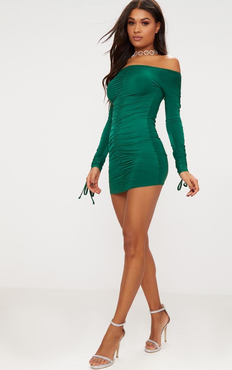 Emerald Green Slinky Ruched Bardot Bodycon Dress 4