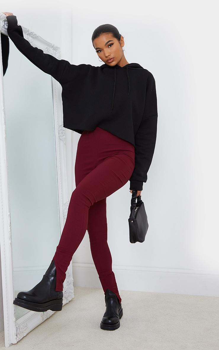 Wine Stretch Split Hem Skinny Trousers 1