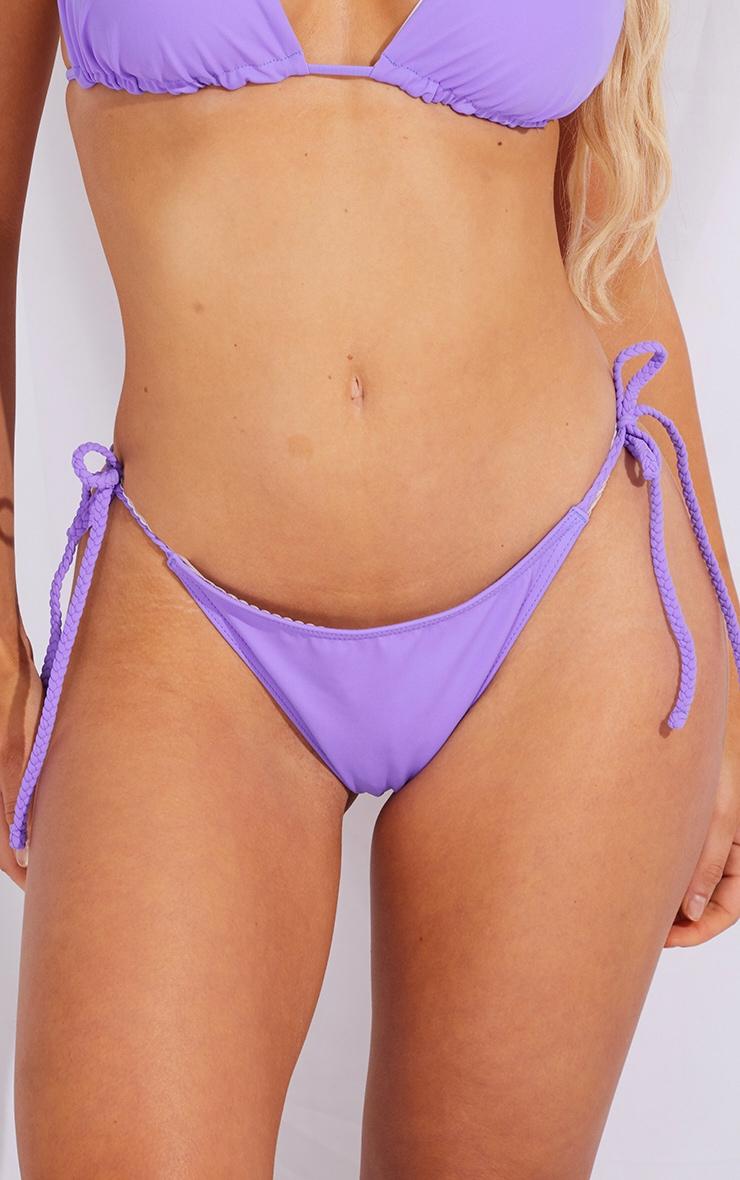 Bas de bikini recyclé violet à tresses nouées sur les côtés 4