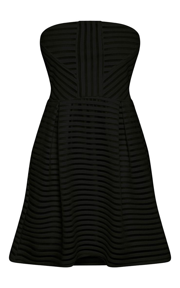 Talisa Black Bandeau Ribbed Detail Skater Dress 3
