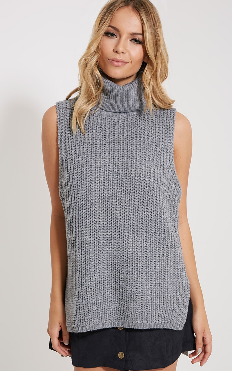 Lolla Grey Knitted Roll Neck Top 1