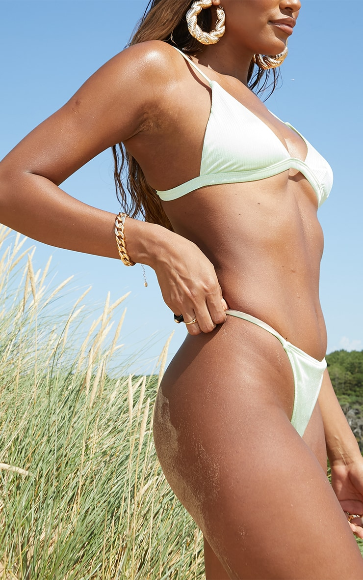 Green  Shiny Thong Bikini Bottoms 2