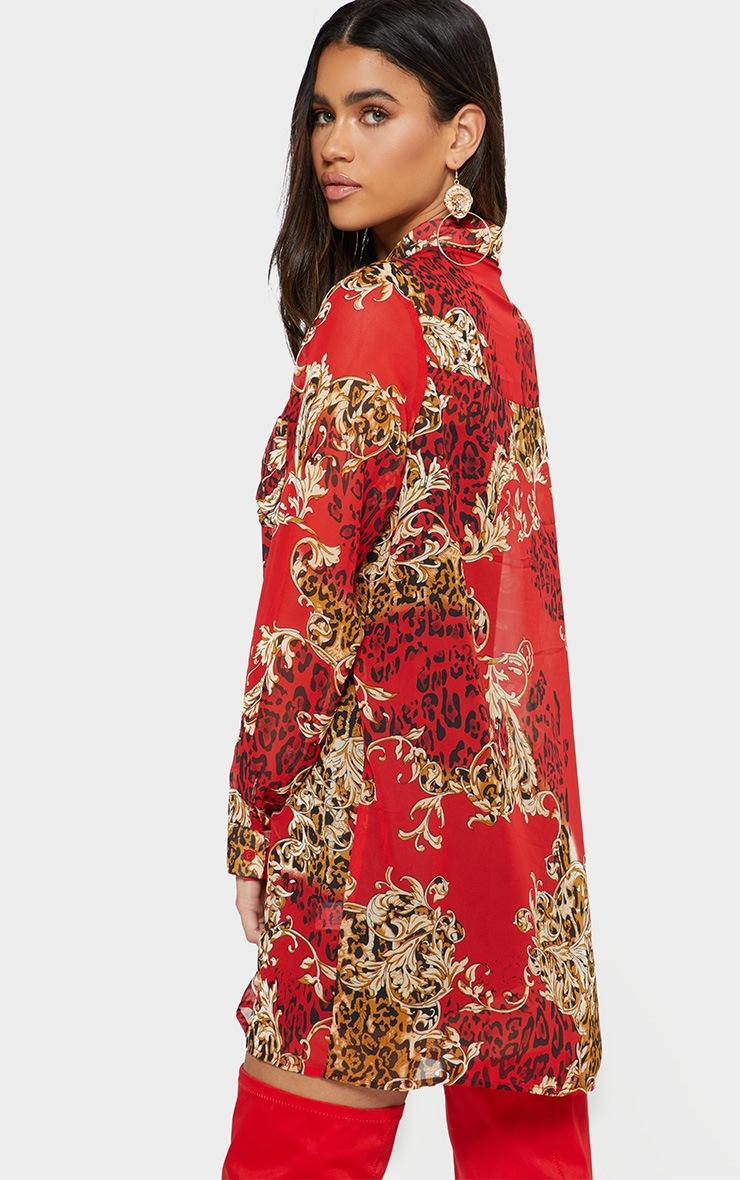 Red Baroque Print Chiffon Oversized Shirt Dress 2
