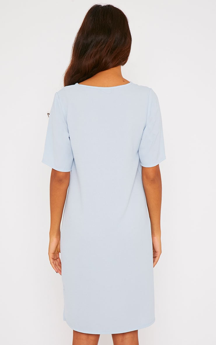 Chante Powder Blue Crepe Loose Fit Shift Step Hem Dress 2