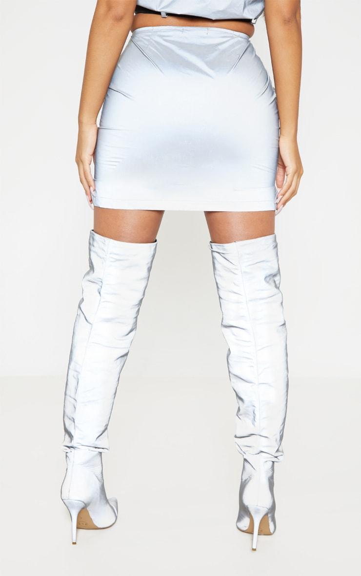 Grey Reflective Zip Up Mini Skirt 4