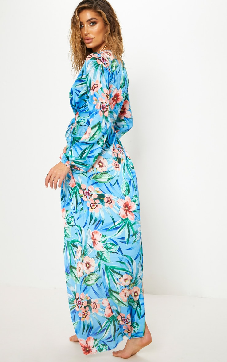 Blue Floral Satin Kimono 2