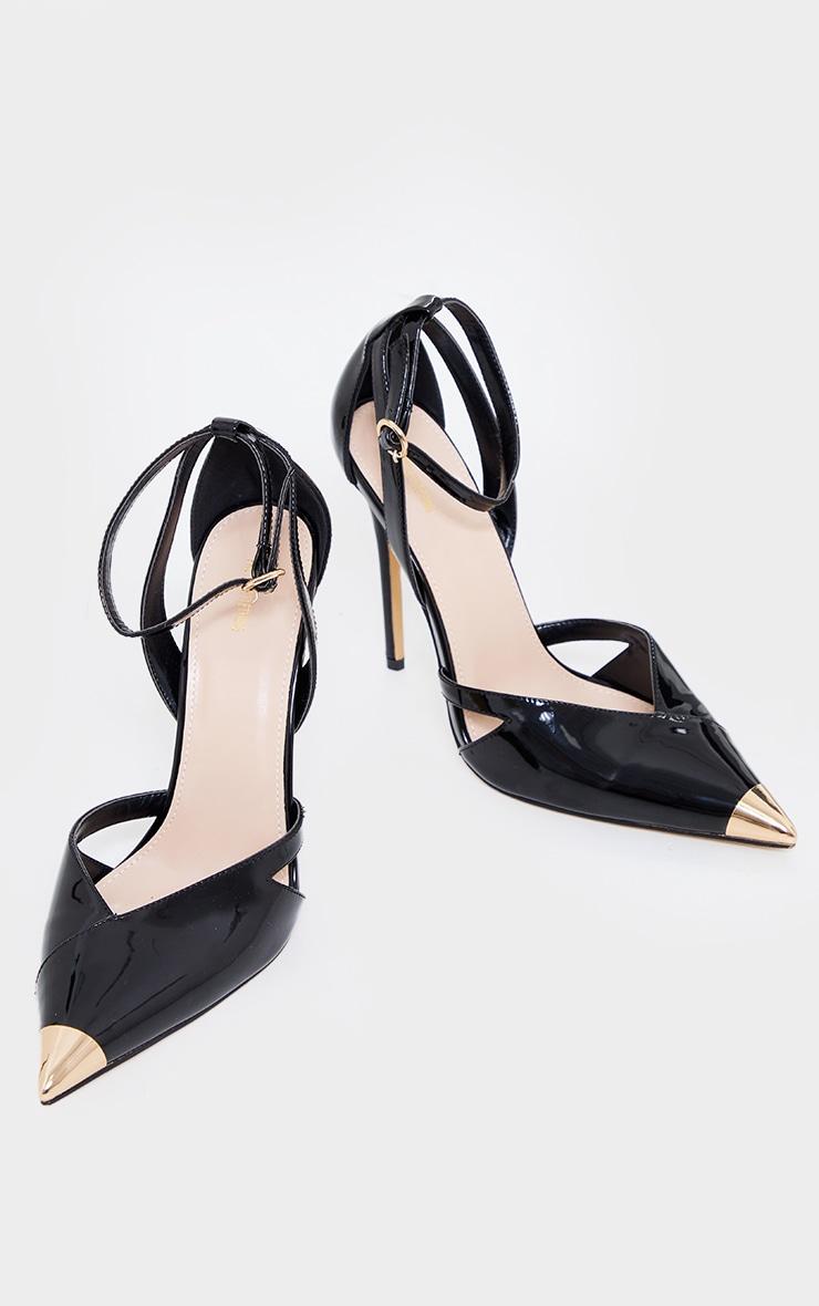 Black Patent Pu Cut Out Heel Metal Toe Court Shoe 3