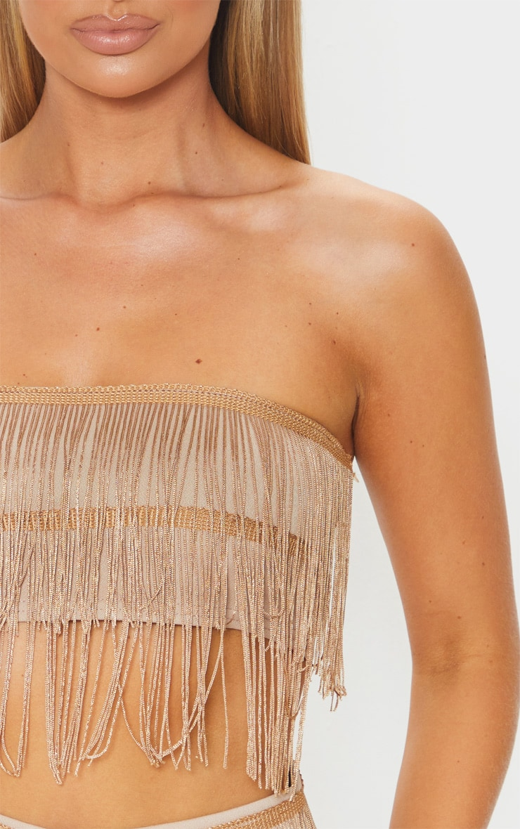 Bronze Tassel Bandeau Crop Top 5