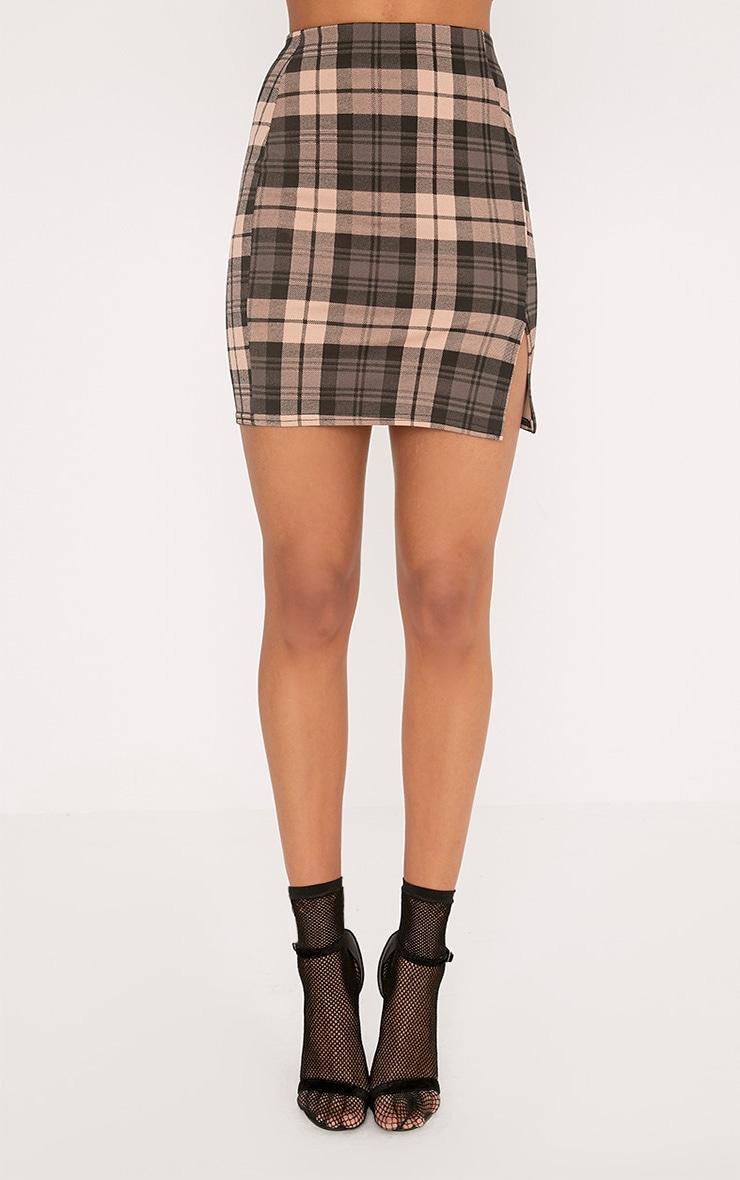 Alcee Nude Check Side Split Mini Skirt 2