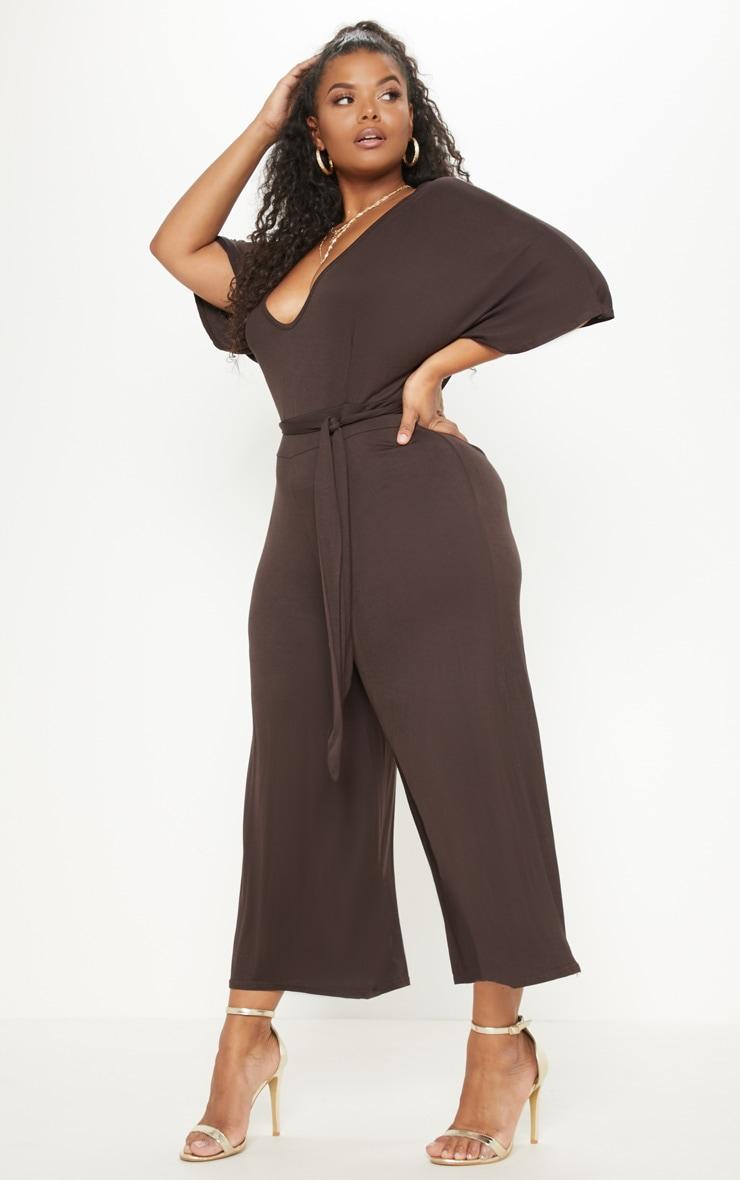 Plus Chocolate Brown  Culotte Jumpsuit 4