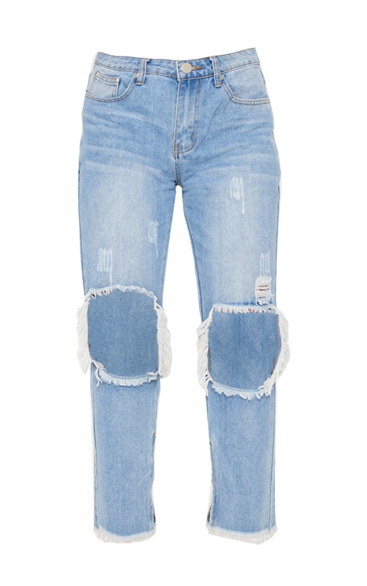 Mid Wash Knee Hole Distressed Straight Leg Jeans 4