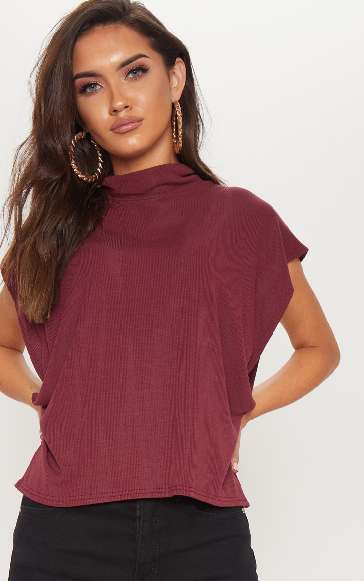 Deep Burgundy Short Sleeve Rib Roll Neck Top
