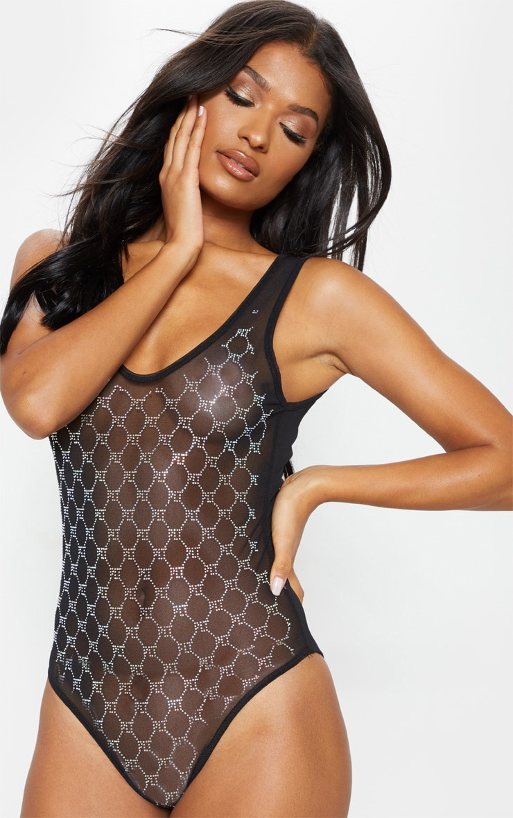 PRETTYLITTLETHING Black Diamante Mesh Body 1
