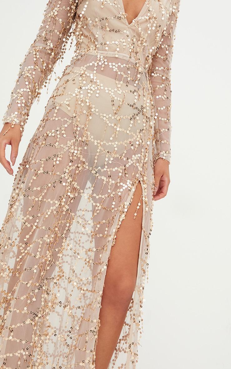 Valentina robe maxi or à manches longues et sequins 5