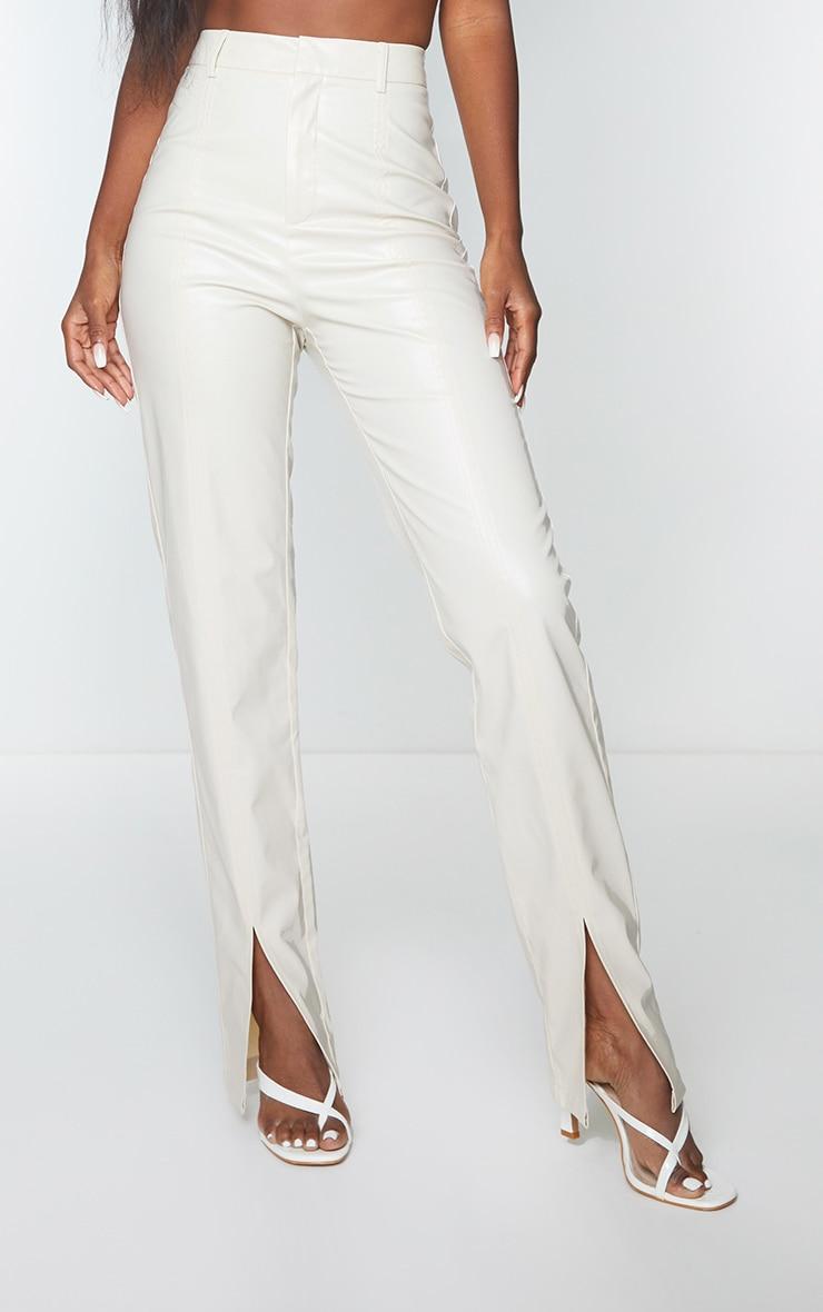 Cream Faux Leather Split Hem Seam Detail Skinny Pants 2