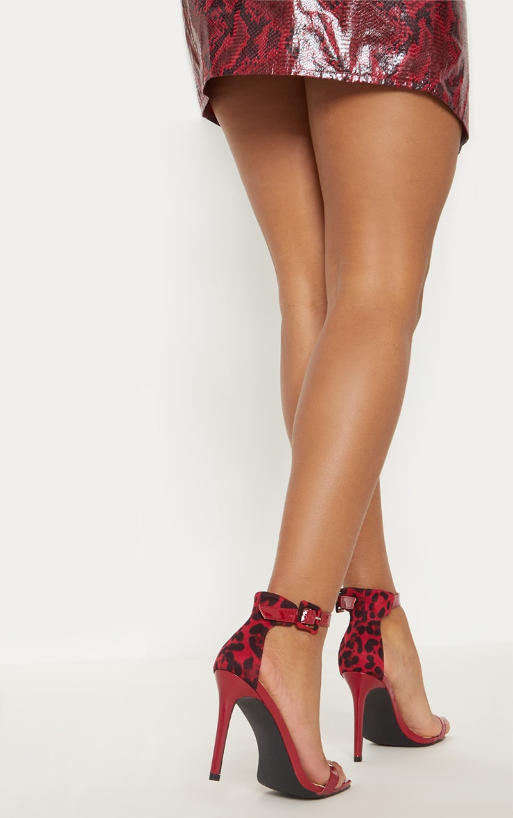Red Two Tone Leopard Square Toe Heeled Sandal 1