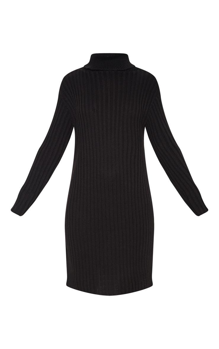 Black Roll Neck Midi Sweater Dress 3