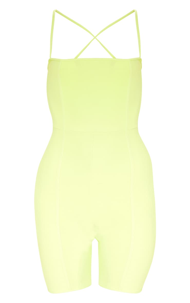 Plus Lime Second Skin Straight Neck Binding Detail Unitard 3