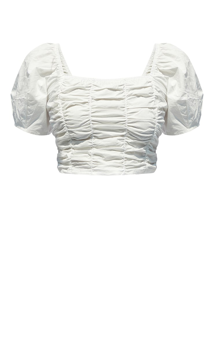 White Woven Ruched Front Puff Crop Top 5
