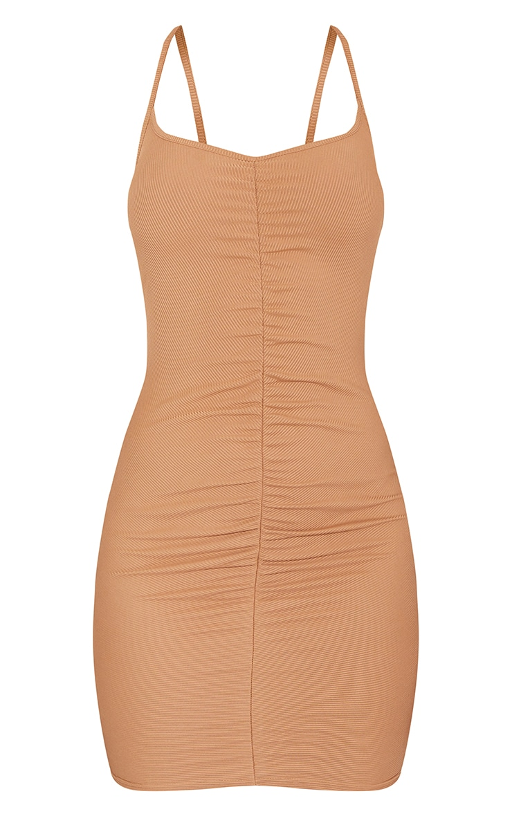 Toffee Ribbed Strappy Gathered Front Bodycon Dress 5