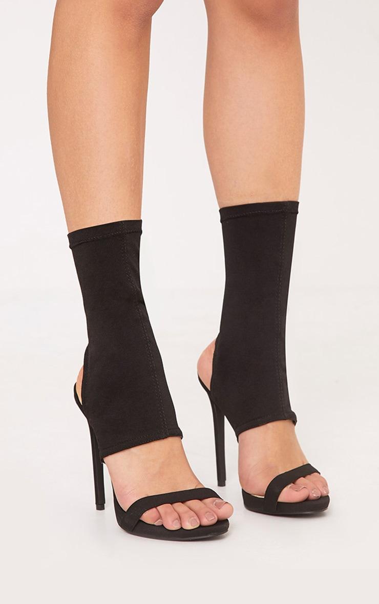 Etta Black Cut Out Sock Heels 3