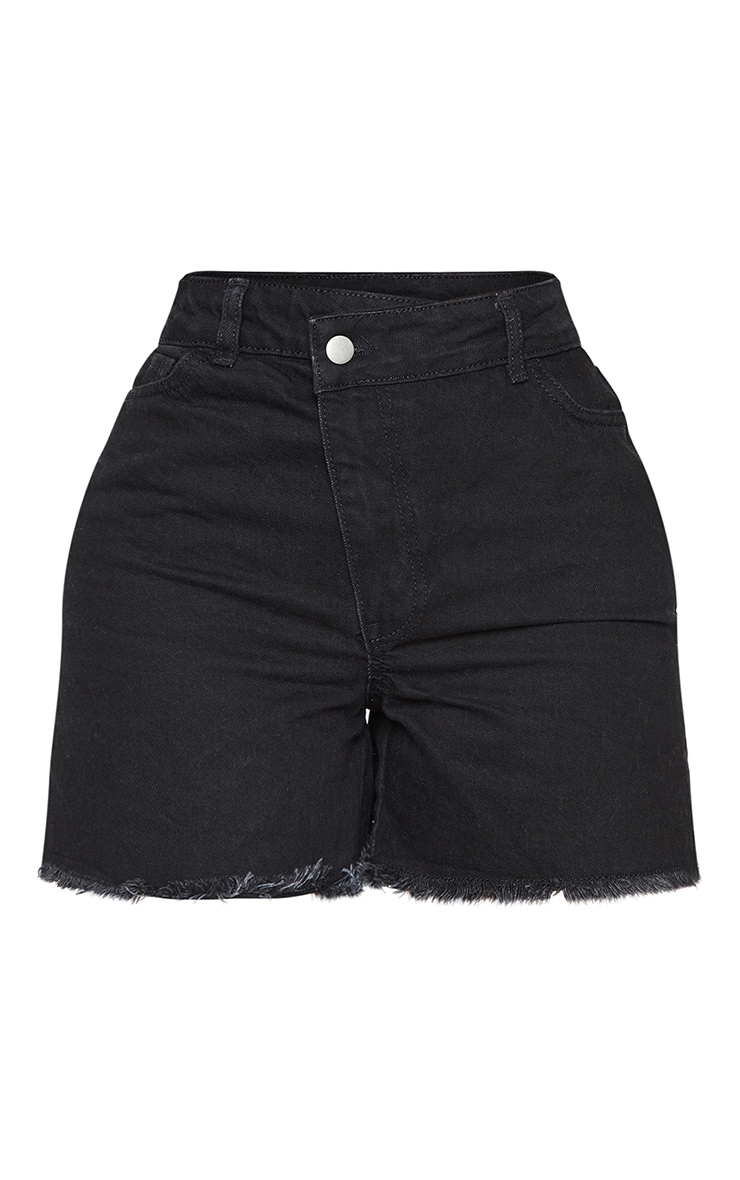 PRETTYLITTLETHING Shape Black Asymmetric Waist Fray Hem Denim Shorts 6