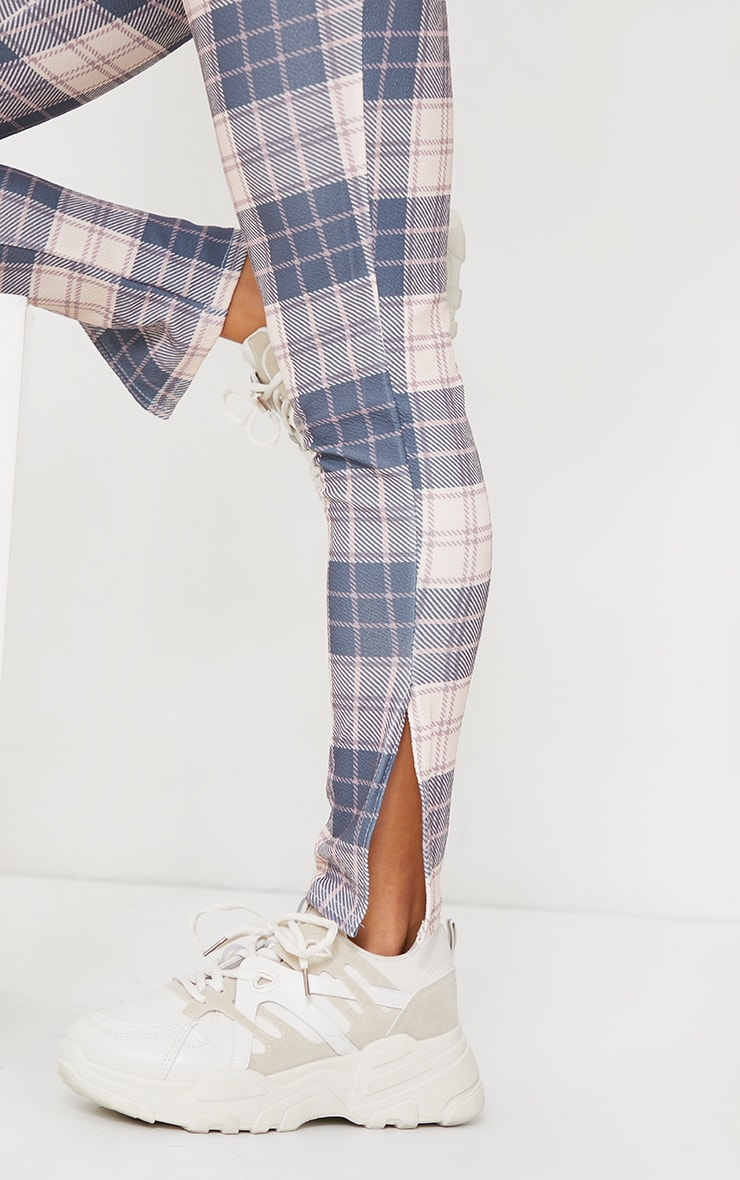 Petite Nude Checked Split Hem Pants 4