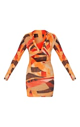 Orange Abstract Print Collared Cut Out Long Sleeve Bodycon Dress 5